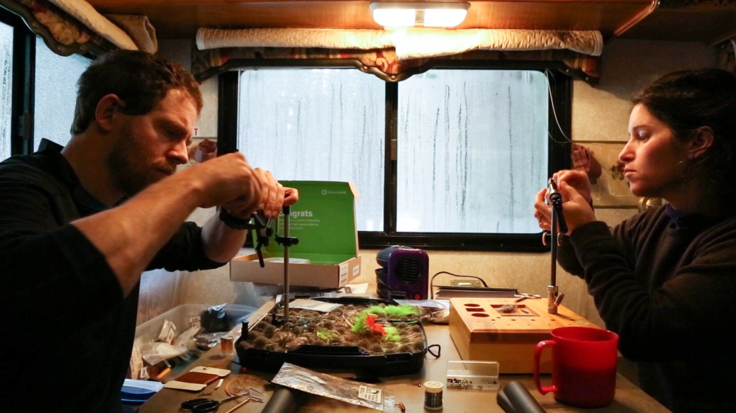 Trailer life. Tying flies while Gus gets a nap.